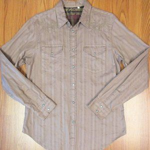 GUESS Mens 100% COTTON CASUAL SHIRT ROSY BROWN